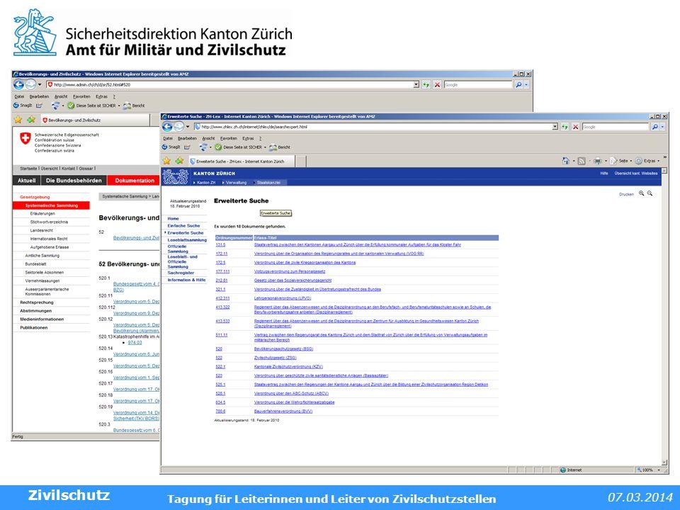07.03.2014 Tagung für Leiterinnen und Leiter von Zivilschutzstellen Beispiele und Anwendungen BZG - ZSV Frage: Was heisst Bevölkerungsschutz.