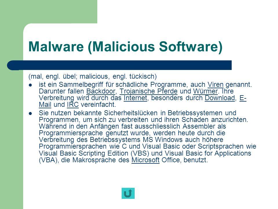 Malware (Malicious Software) (mal, engl. übel; malicious, engl. tückisch) ist ein Sammelbegriff für schädliche Programme, auch Viren genannt. Darunter