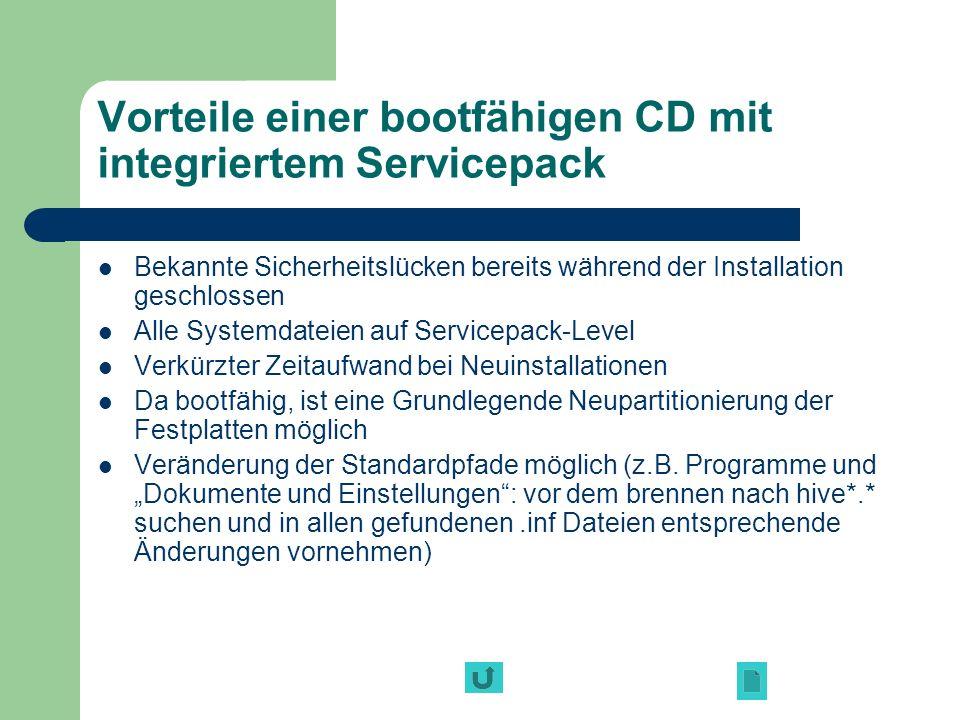 Vorteile einer bootfähigen CD mit integriertem Servicepack Bekannte Sicherheitslücken bereits während der Installation geschlossen Alle Systemdateien