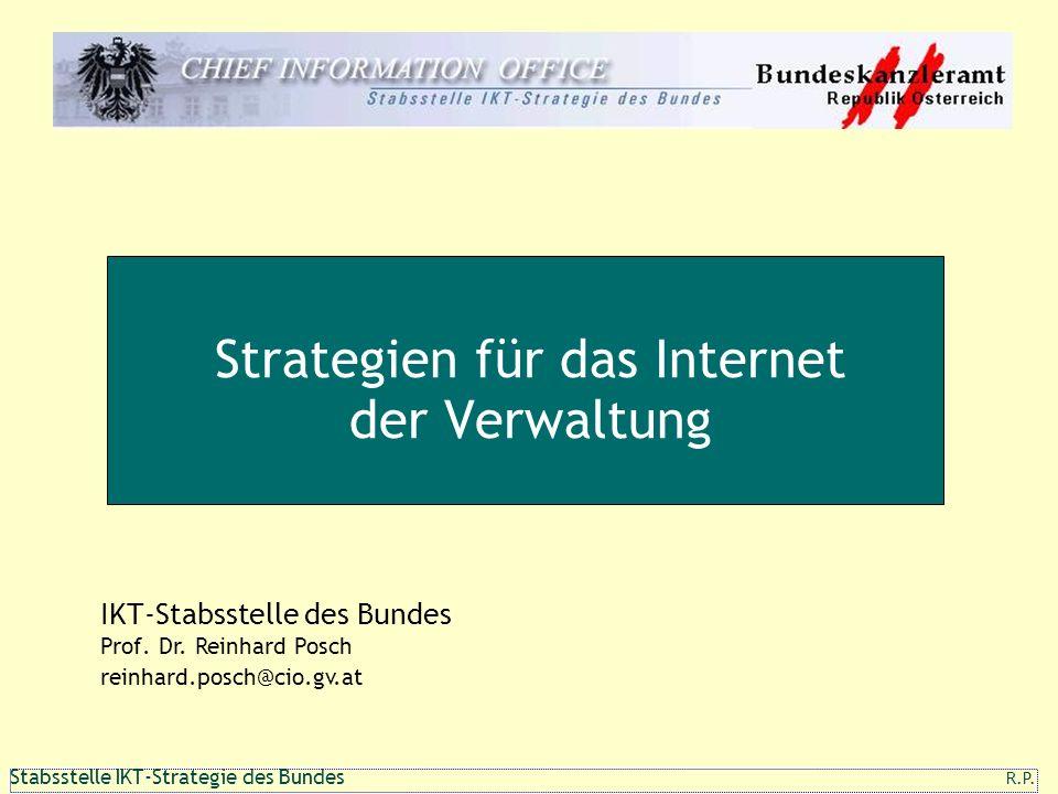111 1 Stabsstelle IKT-Strategie des Bundes R.P. Strategien für das Internet der Verwaltung R.P. IKT-Stabsstelle des Bundes Prof. Dr. Reinhard Posch re