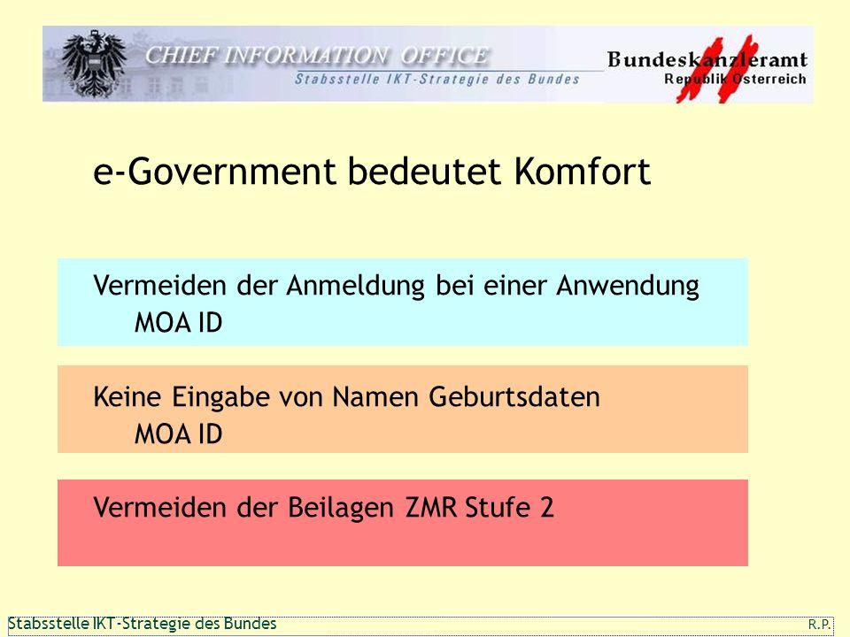 111 1 Stabsstelle IKT-Strategie des Bundes R.P. e-Government bedeutet Komfort Vermeiden der Anmeldung bei einer Anwendung MOA ID Keine Eingabe von Nam