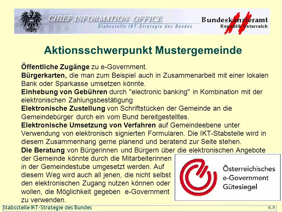 111 1 Stabsstelle IKT-Strategie des Bundes R.P. Aktionsschwerpunkt Mustergemeinde Öffentliche Zugänge zu e-Government. Bürgerkarten, die man zum Beisp