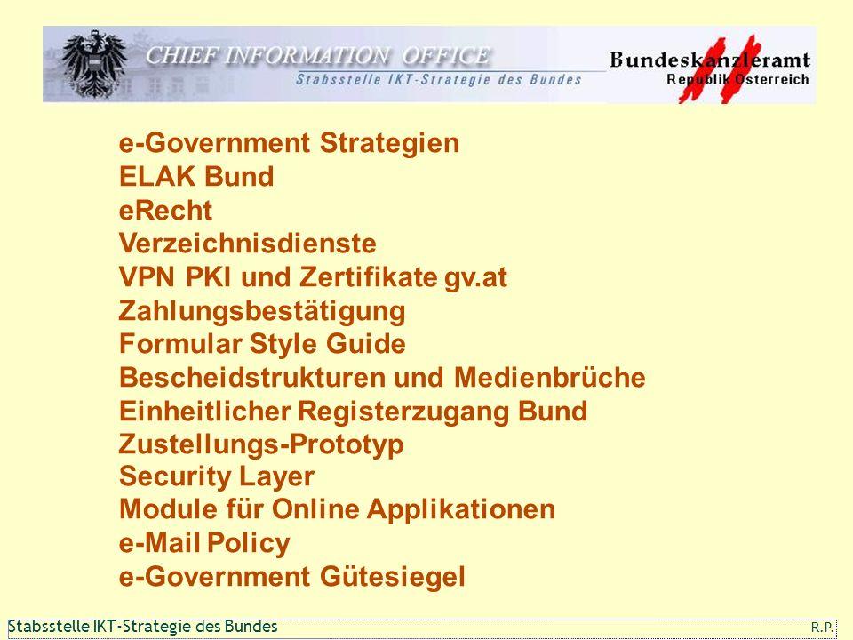 111 1 Stabsstelle IKT-Strategie des Bundes R.P. e-Government Strategien ELAK Bund eRecht Verzeichnisdienste VPN PKI und Zertifikate gv.at Zahlungsbest