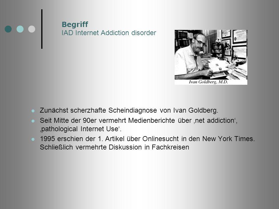 Begriff IAD Internet Addiction disorder Zunächst scherzhafte Scheindiagnose von Ivan Goldberg. Seit Mitte der 90er vermehrt Medienberichte über net ad