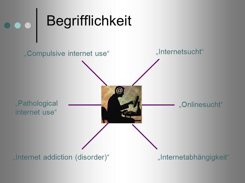 Begrifflichkeit Internetsucht Onlinesucht InternetabhängigkeitInternet addiction (disorder) Pathological internet use Compulsive internet use