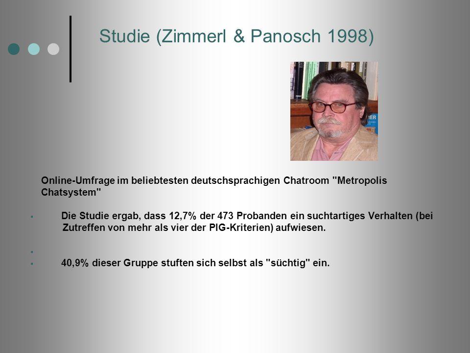 Studie (Zimmerl & Panosch 1998) Online-Umfrage im beliebtesten deutschsprachigen Chatroom