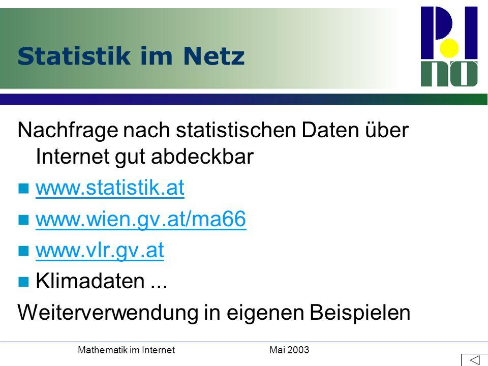 Mai 2003Mathematik im Internet Statistik im Netz Nachfrage nach statistischen Daten über Internet gut abdeckbar www.statistik.at www.wien.gv.at/ma66 w