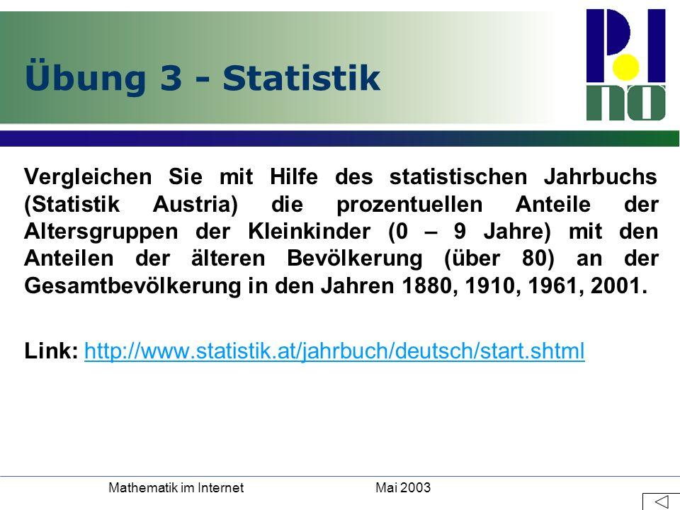 Mai 2003Mathematik im Internet Übung 3 - Statistik Vergleichen Sie mit Hilfe des statistischen Jahrbuchs (Statistik Austria) die prozentuellen Anteile