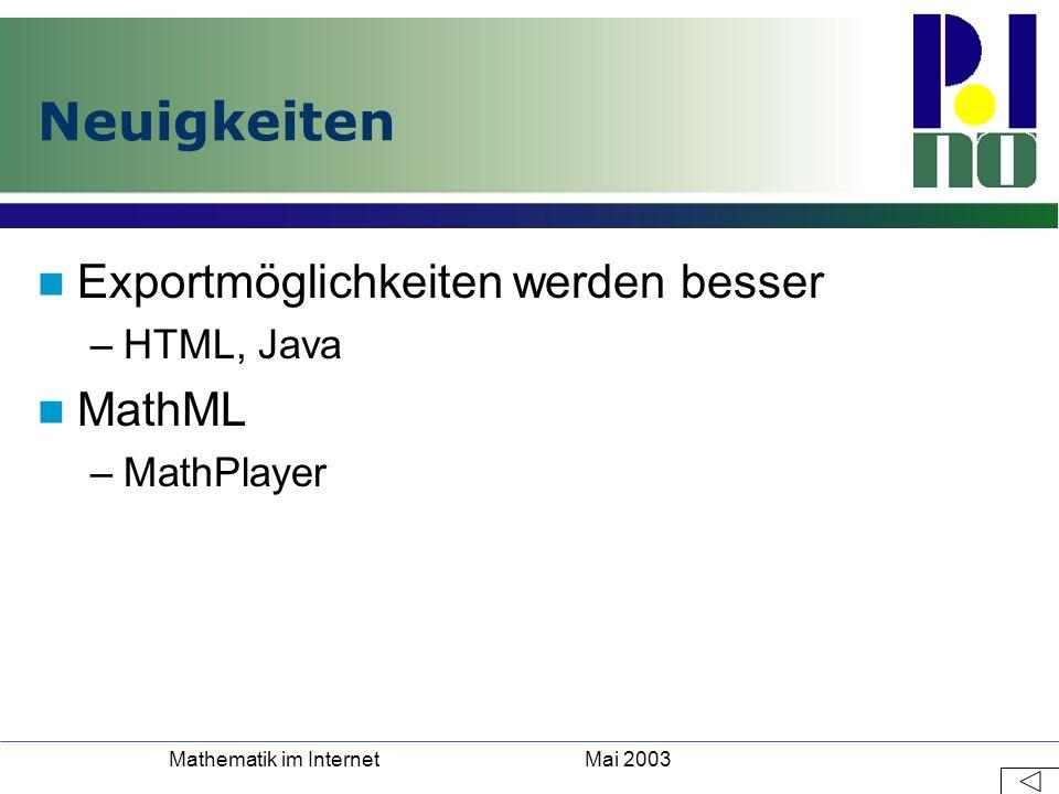 Mai 2003Mathematik im Internet Neuigkeiten Exportmöglichkeiten werden besser –HTML, Java MathML –MathPlayer