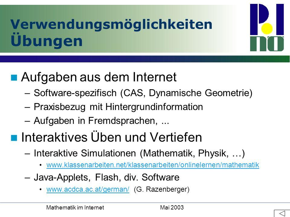 Mai 2003Mathematik im Internet Verwendungsmöglichkeiten Übungen Aufgaben aus dem Internet –Software-spezifisch (CAS, Dynamische Geometrie) –Praxisbezu
