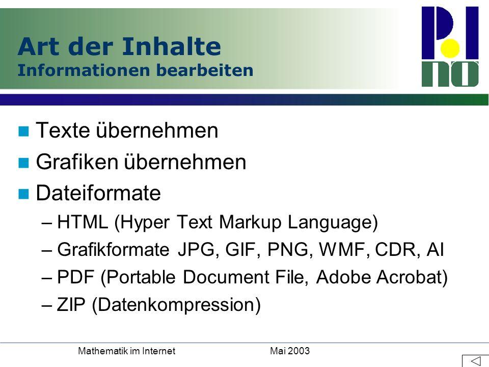 Mai 2003Mathematik im Internet Art der Inhalte Informationen bearbeiten Texte übernehmen Grafiken übernehmen Dateiformate –HTML (Hyper Text Markup Lan