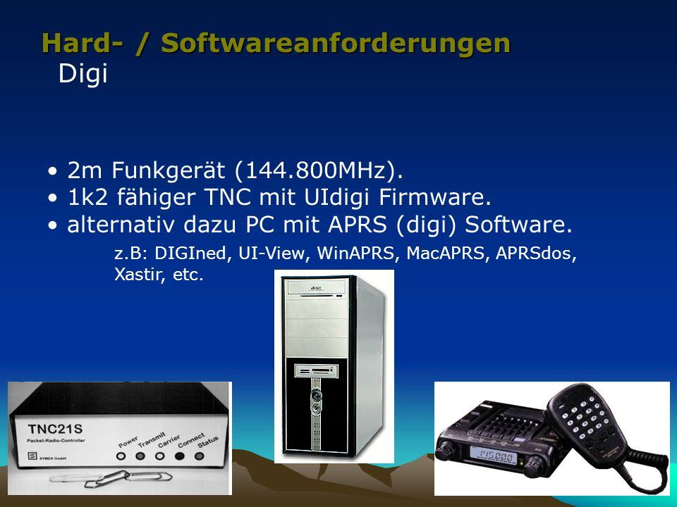 Hard- / Softwareanforderungen Digi 2m Funkgerät (144.800MHz). 1k2 fähiger TNC mit UIdigi Firmware. alternativ dazu PC mit APRS (digi) Software. z.B: D