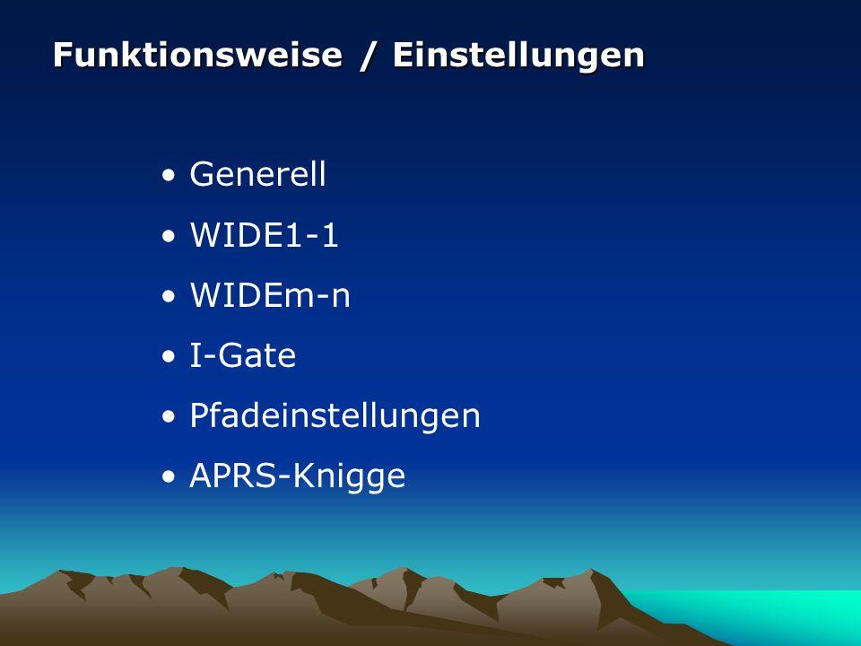 Funktionsweise / Einstellungen Generell WIDE1-1 WIDEm-n I-Gate Pfadeinstellungen APRS-Knigge