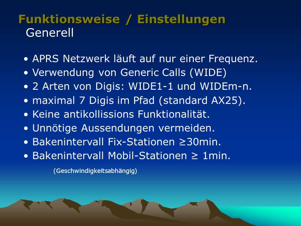 Funktionsweise / Einstellungen Generell APRS Netzwerk läuft auf nur einer Frequenz. Verwendung von Generic Calls (WIDE) 2 Arten von Digis: WIDE1-1 und
