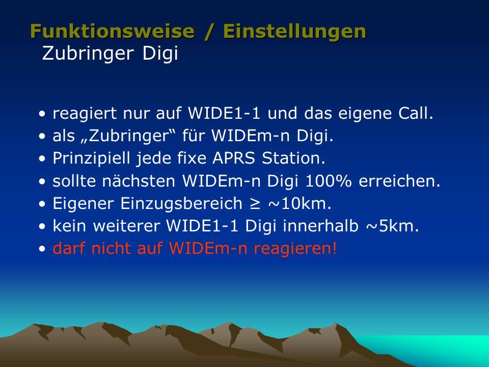 Funktionsweise / Einstellungen Zubringer Digi reagiert nur auf WIDE1-1 und das eigene Call. als Zubringer für WIDEm-n Digi. Prinzipiell jede fixe APRS
