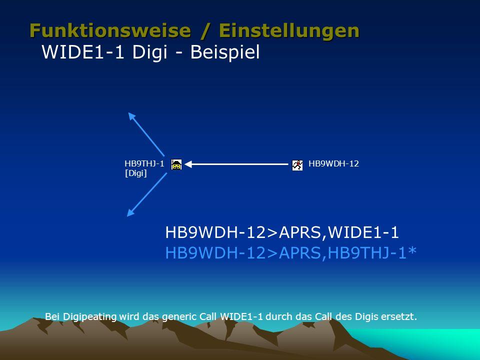 Funktionsweise / Einstellungen WIDE1-1 Digi - Beispiel HB9WDH-12HB9THJ-1 [Digi] HB9WDH-12>APRS,WIDE1-1 HB9WDH-12>APRS,HB9THJ-1* Bei Digipeating wird d