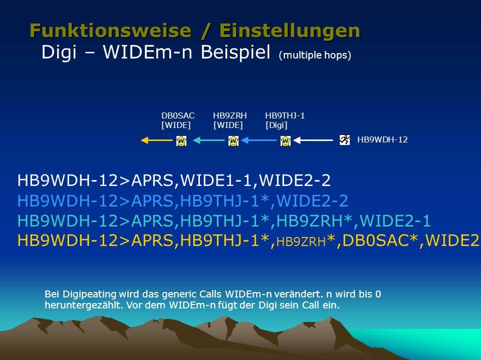 Funktionsweise / Einstellungen Digi – WIDEm-n Beispiel (multiple hops) HB9THJ-1 [Digi] HB9WDH-12>APRS,WIDE1-1,WIDE2-2 HB9WDH-12>APRS,HB9THJ-1*,WIDE2-2