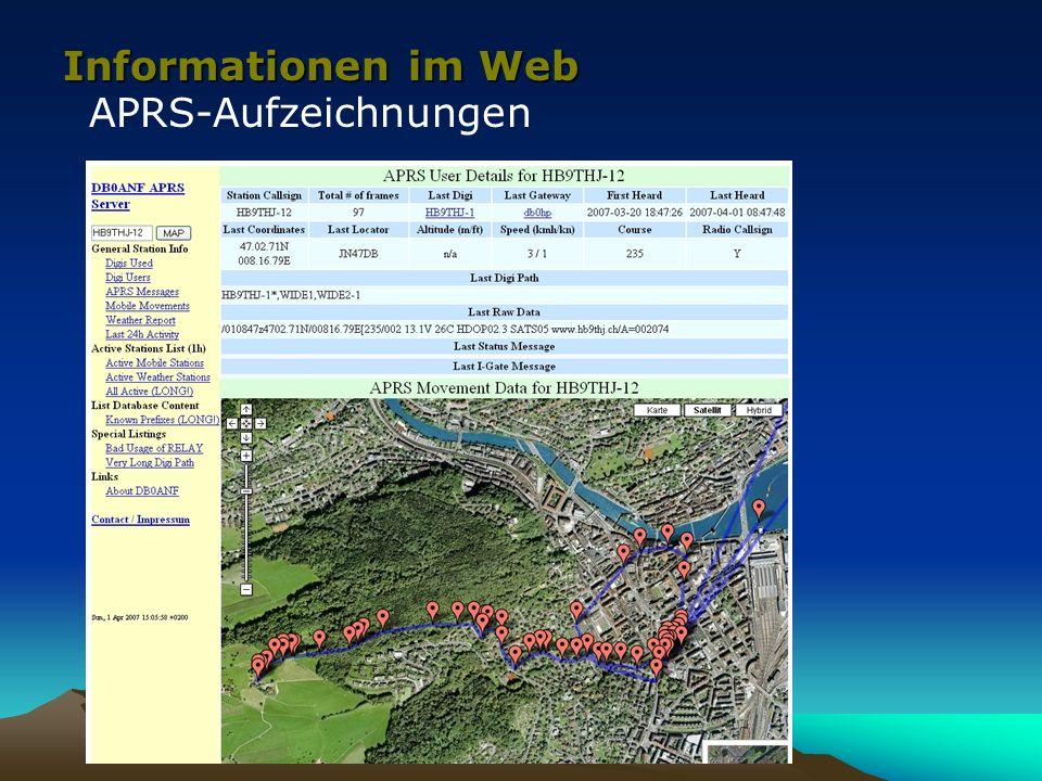 Informationen im Web APRS-Aufzeichnungen