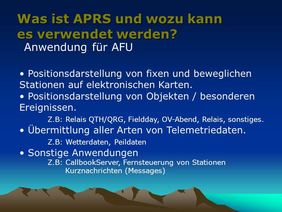 Appendix A APRS Frequenzen IARU Region 1:144.800MHz1k2 FM PA: 431.035,5 1k2 für Novice IARU Region 2:144.390MHz1k2 FM Satelliten: Packetpfad - ISS:145.800dwn/145.990up 1k2 RS0ISS,WIDE,SGATE - PCsat:145.828dwn/145.828up 1k2 WD3ADO-1,WIDE,SGATE Kurzwelle: - 29.250FM 1k2 - 14.103LSB 300 Baud - 10.151LSB 300 Baud