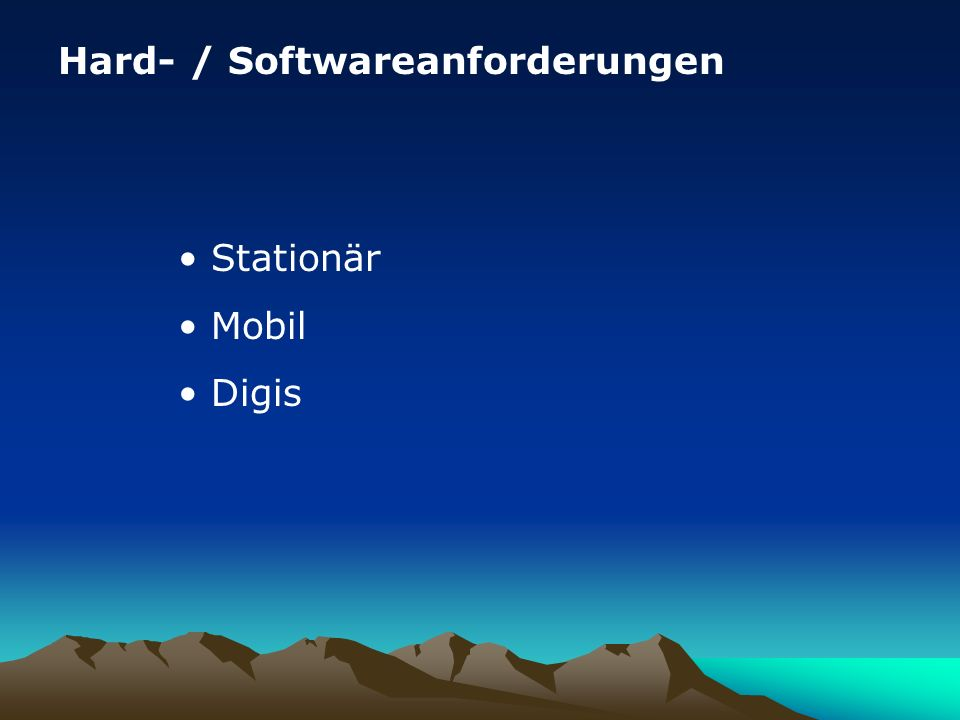 Impressum Quellen : APRS-Hamburg APRS-BW APRS.DE Nachbearbeitung für regionale Bedürfnisse und Aktualisierung: HB9WAD, HB9TLX, HB9THJ http://www.hb9thj.ch/P01/APRS/APRS.html Stand 05/2007