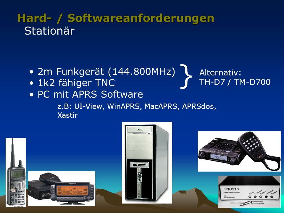 Hard- / Softwareanforderungen Mobil – nur Senden von Positionsbaken GPS Empfänger 2m Funkgerät (144.800MHz) APRS Tracker z.B: OpenTracker, TinyTrack, AATIS APRS Bausatz, 1k2 TNC mit TAPR Firmware, etc.