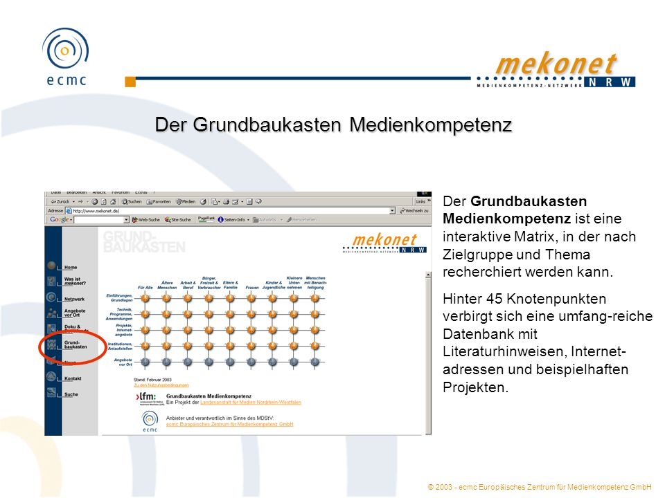© 2003 - ecmc Europäisches Zentrum für Medienkompetenz GmbH Der Grundbaukasten Medienkompetenz Der Grundbaukasten Medienkompetenz ist eine interaktive
