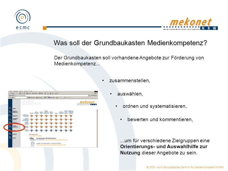 © 2003 - ecmc Europäisches Zentrum für Medienkompetenz GmbH Was soll der Grundbaukasten Medienkompetenz? Der Grundbaukasten soll vorhandene Angebote z