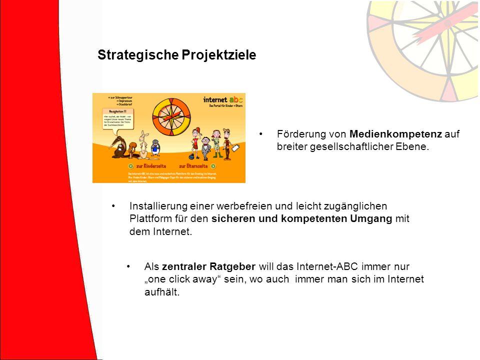 Strategische Projektziele Förderung von Medienkompetenz auf breiter gesellschaftlicher Ebene. Als zentraler Ratgeber will das Internet-ABC immer nur o
