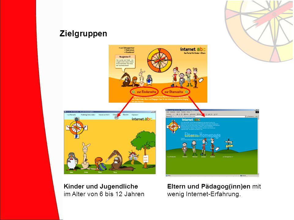 Zielgruppen Eltern und Pädagog(inn)en mit wenig Internet-Erfahrung. Kinder und Jugendliche im Alter von 6 bis 12 Jahren