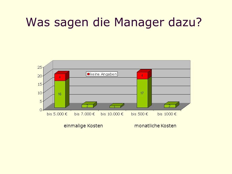 Was sagen die Manager dazu? einmalige Kostenmonatliche Kosten