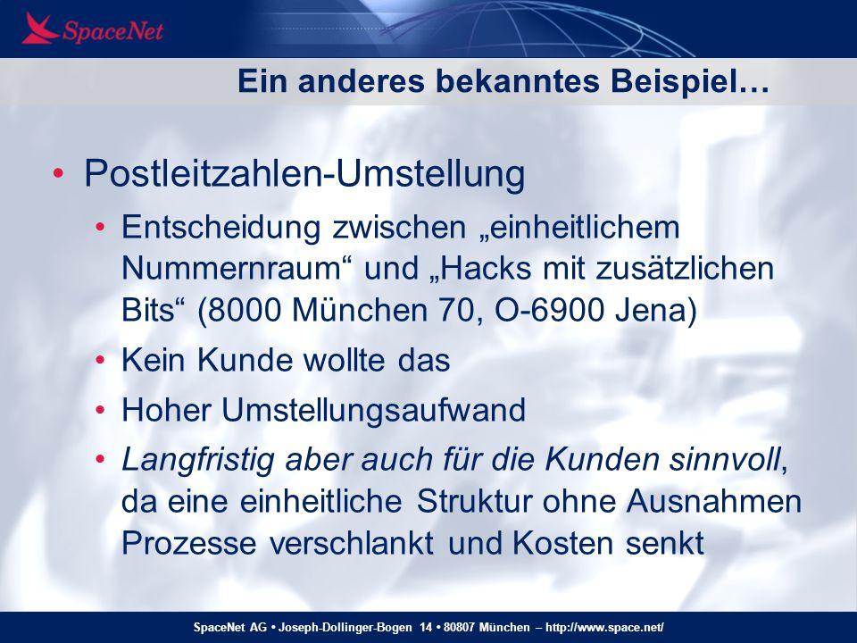SpaceNet AG Joseph-Dollinger-Bogen 14 80807 München – http://www.space.net/ Ein anderes bekanntes Beispiel… Postleitzahlen-Umstellung Entscheidung zwi