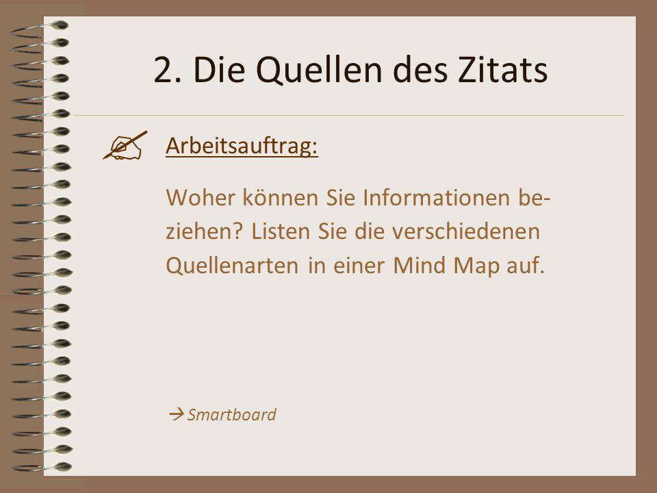 2. Die Quellen des Zitats Arbeitsauftrag: Woher können Sie Informationen be- ziehen? Listen Sie die verschiedenen Quellenarten in einer Mind Map auf.