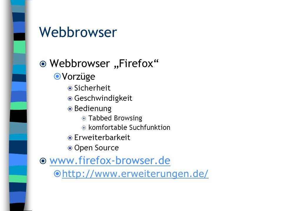 Webbrowser Webbrowser Firefox Vorzüge Sicherheit Geschwindigkeit Bedienung Tabbed Browsing komfortable Suchfunktion Erweiterbarkeit Open Source www.fi