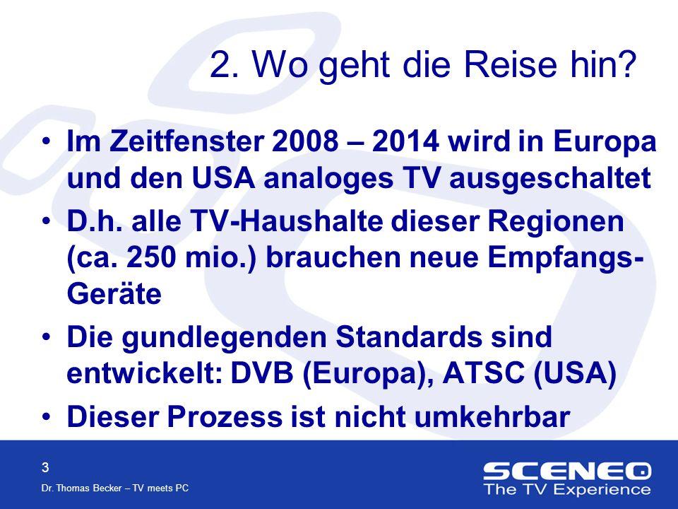2 Dr. Thomas Becker – TV meets PC 1. Wo stehen wir Stand 2004: Ca.