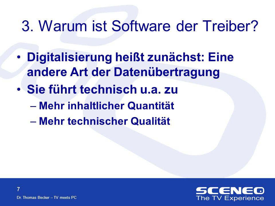 7 Dr.Thomas Becker – TV meets PC 3. Warum ist Software der Treiber.