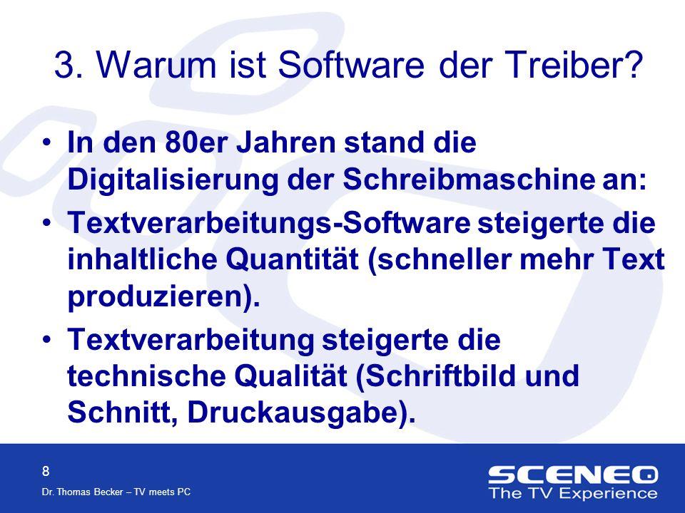 8 Dr.Thomas Becker – TV meets PC 3. Warum ist Software der Treiber.