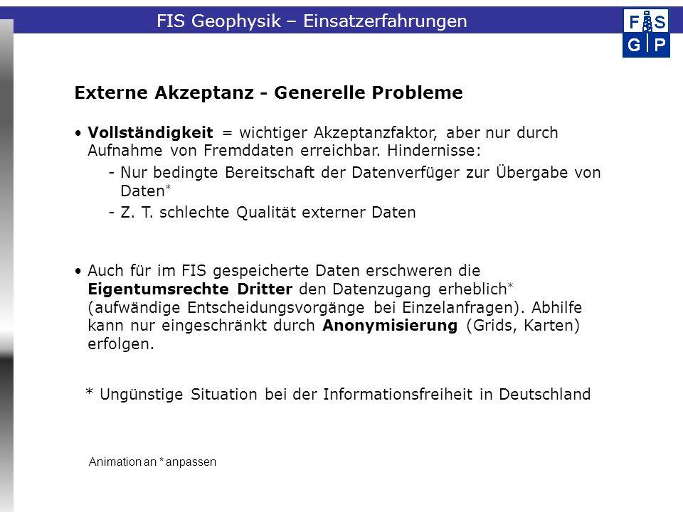Fachinformationssystem Geophysik Externe Akzeptanz - Generelle Probleme Vollständigkeit = wichtiger Akzeptanzfaktor, aber nur durch Aufnahme von Fremd