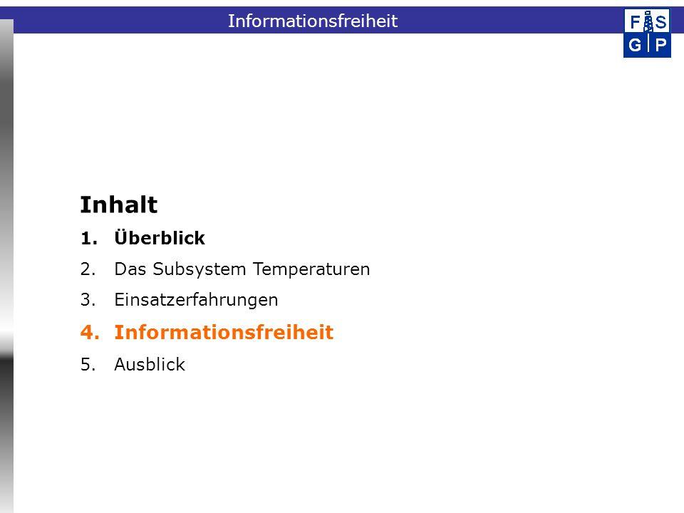 Fachinformationssystem GeophysikInformationsfreiheit Inhalt 1.Überblick 2.Das Subsystem Temperaturen 3.Einsatzerfahrungen 4.Informationsfreiheit 5.Aus