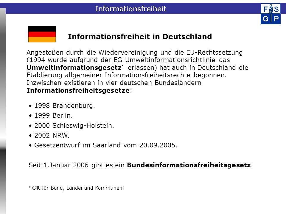 Fachinformationssystem Geophysik 1998 Brandenburg. 1999 Berlin. 2000 Schleswig-Holstein. 2002 NRW. Gesetzentwurf im Saarland vom 20.09.2005. Seit 1.Ja