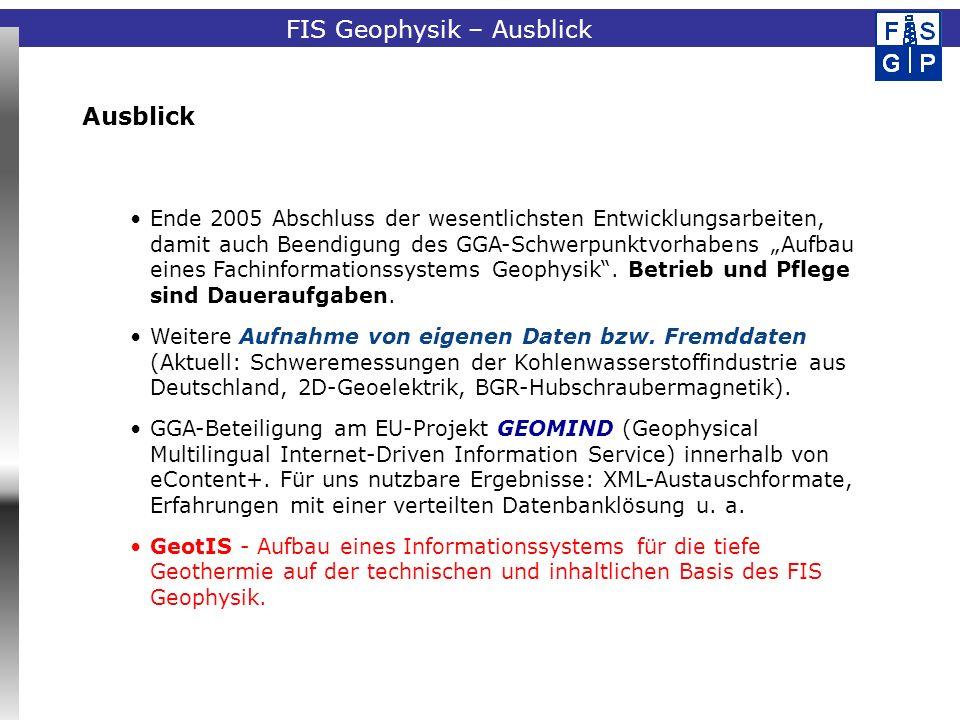 Fachinformationssystem Geophysik Ende 2005 Abschluss der wesentlichsten Entwicklungsarbeiten, damit auch Beendigung des GGA-Schwerpunktvorhabens Aufbau eines Fachinformationssystems Geophysik.