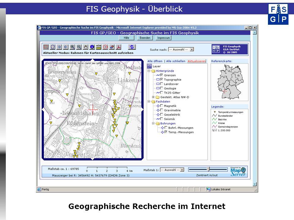 Fachinformationssystem Geophysik Bedeutung des FIS Geophysik für das Geothermische Informationssystem Bereitstellung aktueller Basisdaten aus den Subsystemen Bohrlochgeophysik und Temperaturen Mitnutzung der technischen Internet-Lösung (Benutzerverwaltung, geographische Recherche) für GeotIS FIS Geophysik – Ausblick