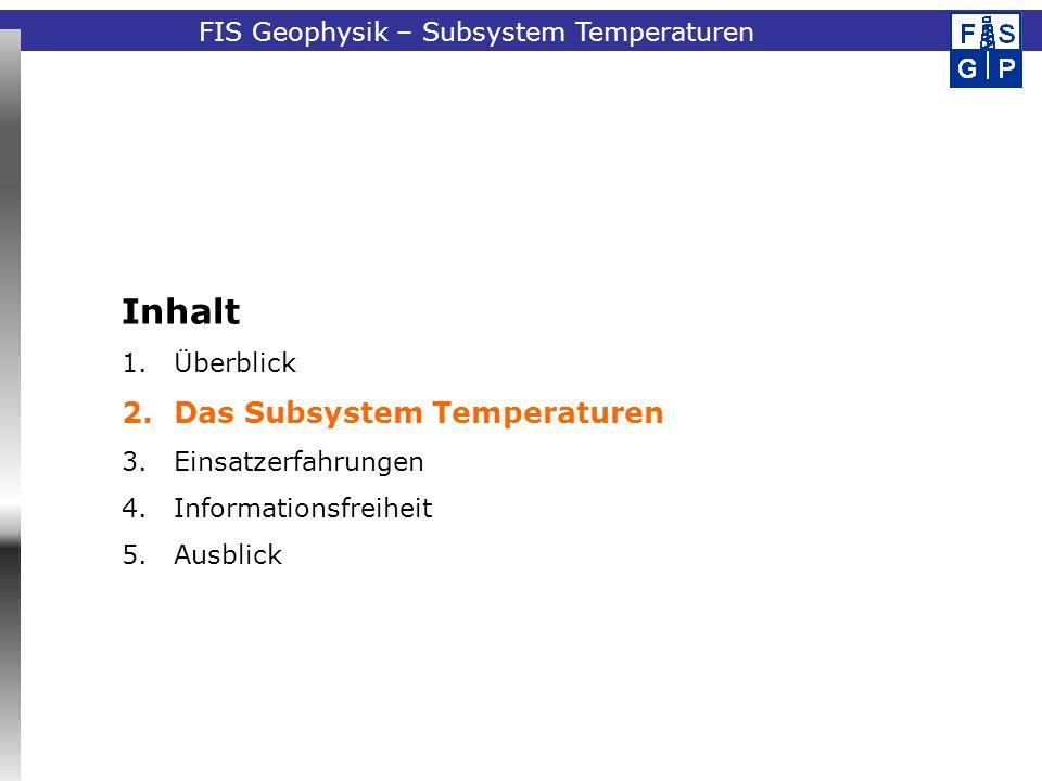 Fachinformationssystem GeophysikFIS Geophysik – Subsystem Temperaturen Inhalt 1.Überblick 2.Das Subsystem Temperaturen 3.Einsatzerfahrungen 4.Informationsfreiheit 5.Ausblick