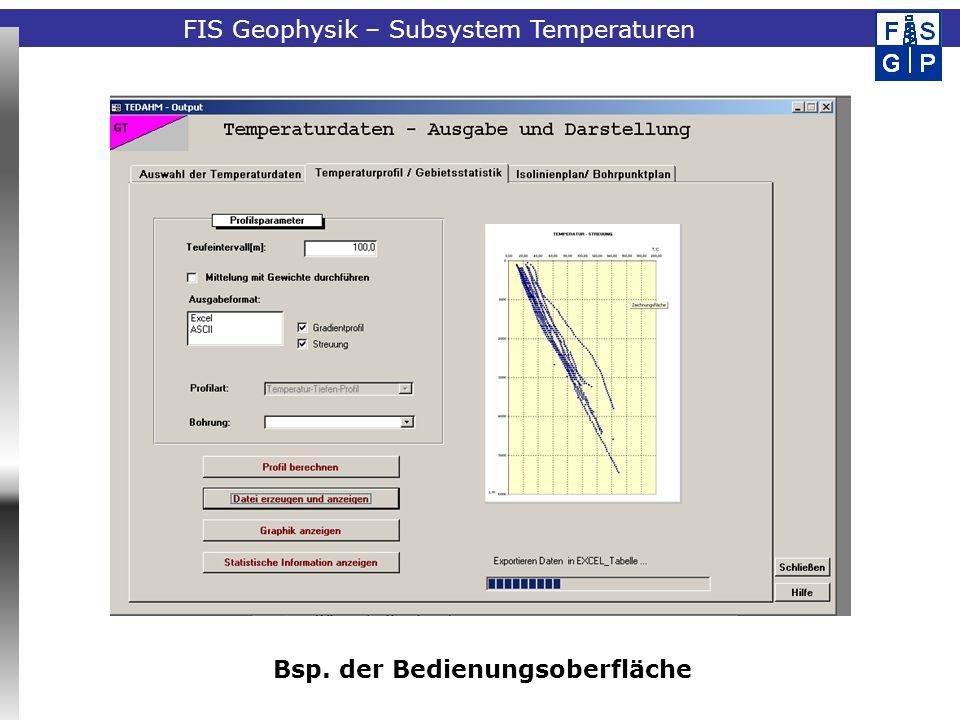 Fachinformationssystem Geophysik Streudiagramm für die Bohrungen eines Teilgebietes FIS Geophysik – Subsystem Temperaturen