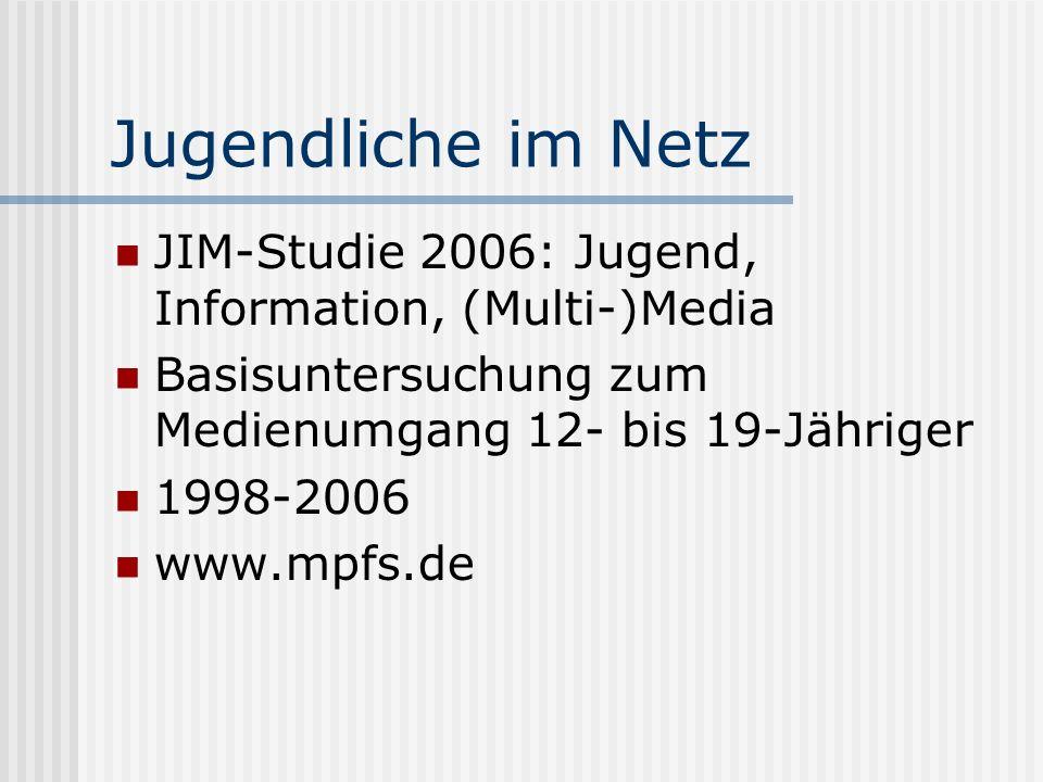 Jugendliche im Netz JIM-Studie 2006: Jugend, Information, (Multi-)Media Basisuntersuchung zum Medienumgang 12- bis 19-Jähriger 1998-2006 www.mpfs.de