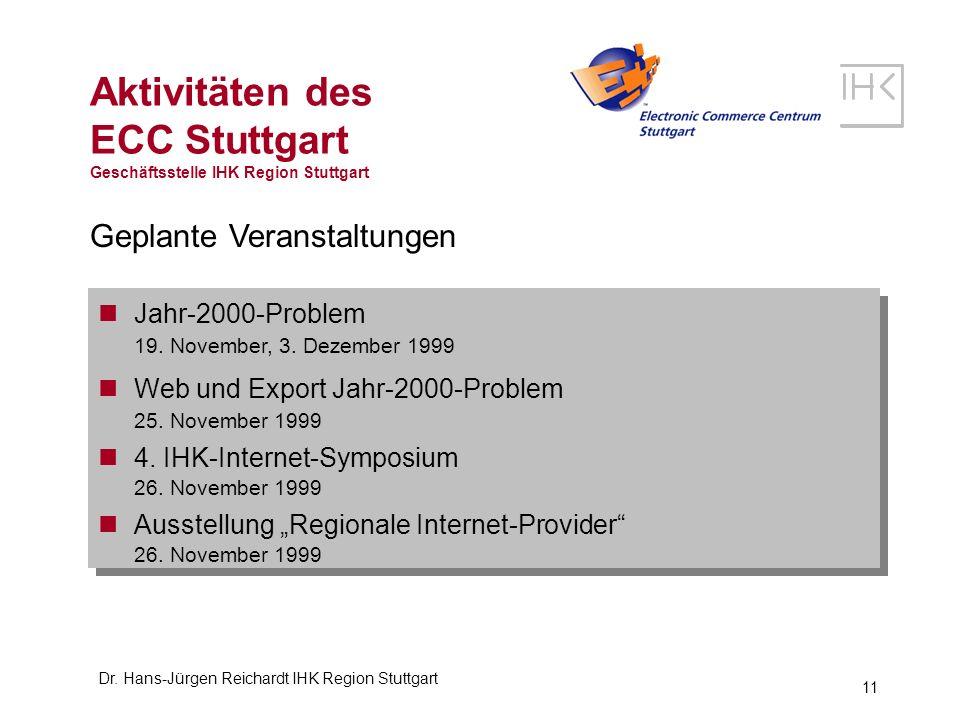 Dr. Hans-Jürgen Reichardt IHK Region Stuttgart 11 Aktivitäten des ECC Stuttgart Geschäftsstelle IHK Region Stuttgart Geplante Veranstaltungen Jahr-200