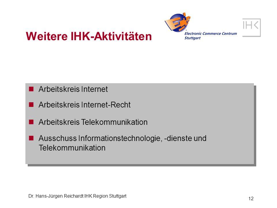 Dr. Hans-Jürgen Reichardt IHK Region Stuttgart 12 Weitere IHK-Aktivitäten Arbeitskreis Internet Arbeitskreis Internet-Recht Arbeitskreis Telekommunika