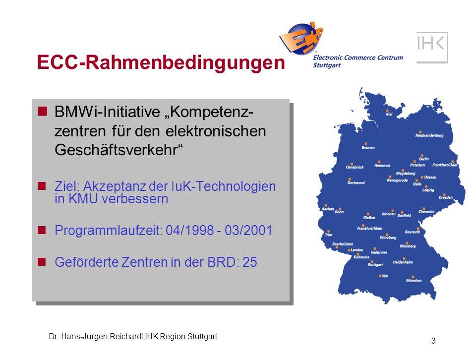 Dr. Hans-Jürgen Reichardt IHK Region Stuttgart 3 BMWi-Initiative Kompetenz- zentren für den elektronischen Geschäftsverkehr Ziel: Akzeptanz der IuK-Te