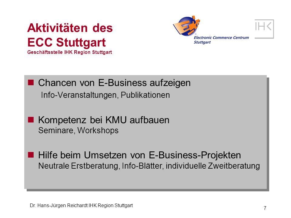 Dr. Hans-Jürgen Reichardt IHK Region Stuttgart 7 Aktivitäten des ECC Stuttgart Geschäftsstelle IHK Region Stuttgart Chancen von E-Business aufzeigen I