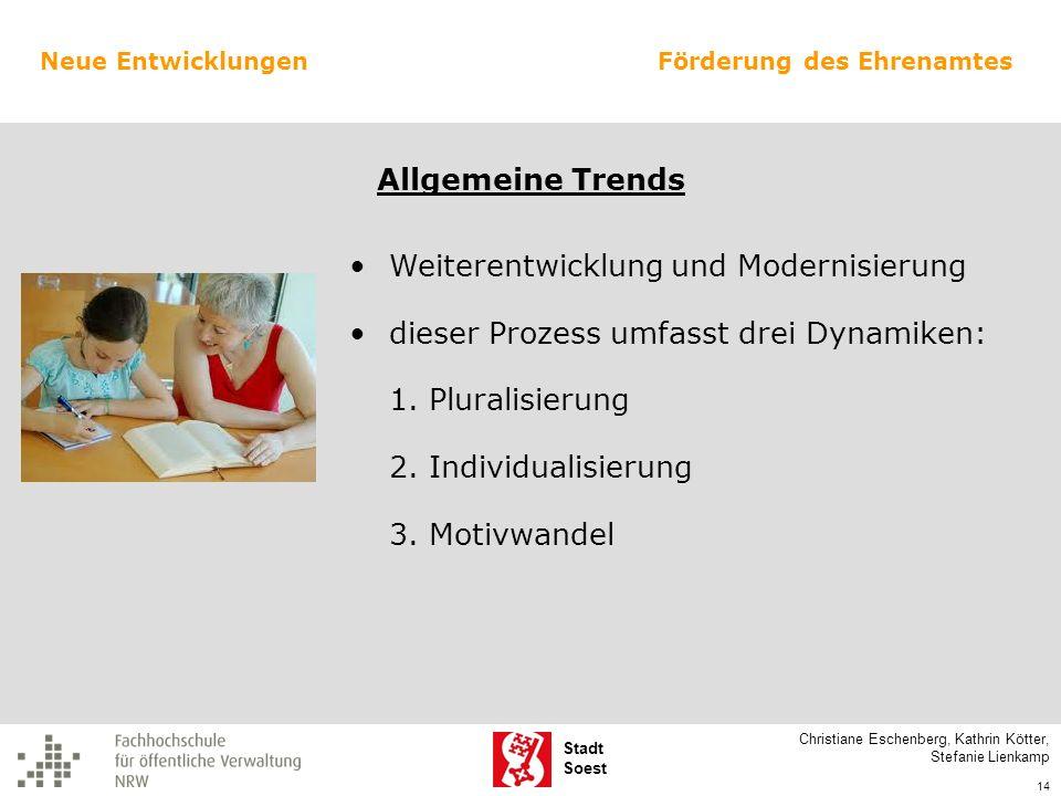 Stadt Soest Weiterentwicklung und Modernisierung dieser Prozess umfasst drei Dynamiken: 1. Pluralisierung 2. Individualisierung 3. Motivwandel Christi