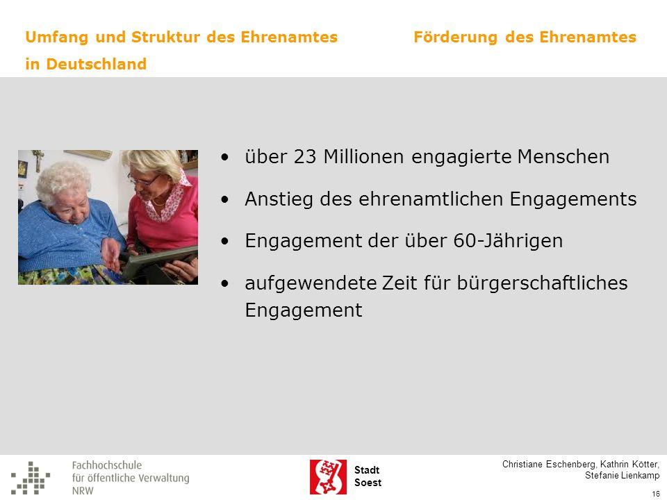 Stadt Soest Christiane Eschenberg, Kathrin Kötter, Stefanie Lienkamp 16 Umfang und Struktur des Ehrenamtes in Deutschland Förderung des Ehrenamtes übe